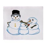 Snow family by Kristie Hubler Throw Blanket