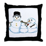 Snow family by Kristie Hubler Throw Pillow