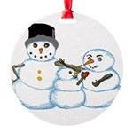 Snow family by Kristie Hubler Round Ornament