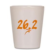 Orange 26.2 marathon Shot Glass