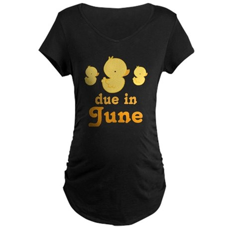 June Due Date Maternity Baby Duck Maternity Dark T