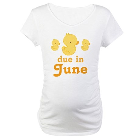 June Due Date Maternity Baby Duck Maternity T-Shir