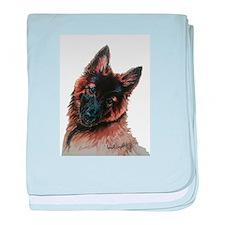 Tervuren puppy watercolor baby blanket