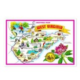 West Virginia Map Greetings Postcards (Package of