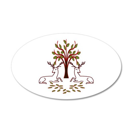 Resting Reindeer 35x21 Oval Wall Decal