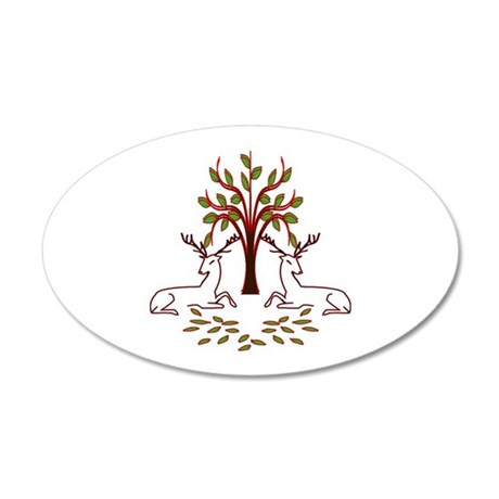 Resting Reindeer 20x12 Oval Wall Decal