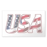 USA in Red White &amp; Blue Rectangle Decal