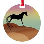 desert horse sq2.png Round Ornament