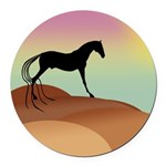 desert horse sq2.png Round Car Magnet