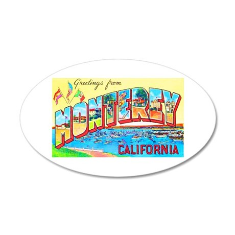 Monterey California Greetings 20x12 Oval Wall Deca