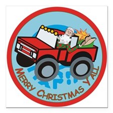 "Country Santa Square Car Magnet 3"" x 3"""