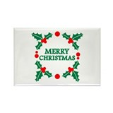 Merry christmas holly Rectangle Magnet (10 pack)