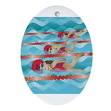 Cute Swimming girl Ornament (Oval)