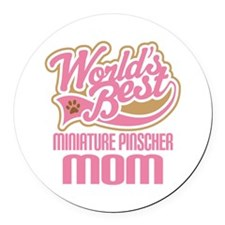 Miniature Pinscher Mom Round Car Magnet