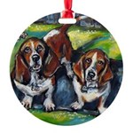 Basset Hounds Murphy Maddie Round Ornament