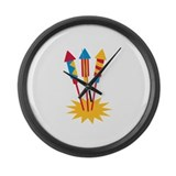 Fireworks rocket Large Wall Clock