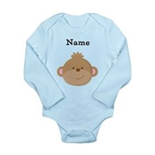 Personalized Monkey Long Sleeve Infant Bodysuit