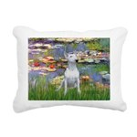 Lilies2-Bull Terrier (P) Rectangular Canvas Pillow