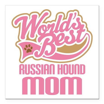 "Russian Hound Mom Square Car Magnet 3"" x 3"""