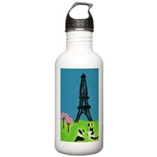 Dog Cat and the Eiffel Tower Water Bottle