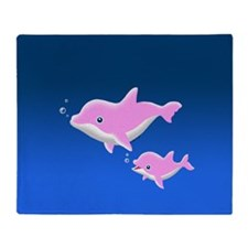 Pink Dolphin Throw Blanket