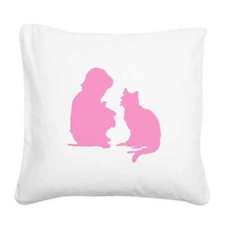 catnchild2b.png Square Canvas Pillow