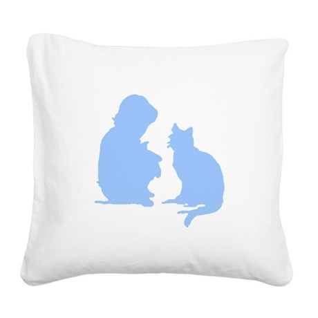 catnchild2a.png Square Canvas Pillow