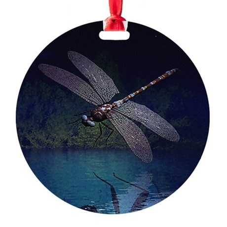 dragonfly10asq.jpg Round Ornament