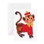 Circus Monkey Greeting Cards (Pk of 10)