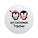 1st Christmas Together Penguin Ornament (Round)