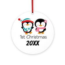 1st Christmas Personalized Penguins Ornament (Roun