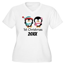 1st Christmas Personalized Penguins T-Shirt