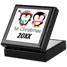1st Christmas Personalized Penguins Keepsake Box