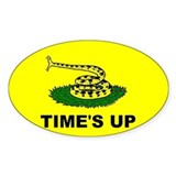"""Time's Up"" flag Oval Decal"