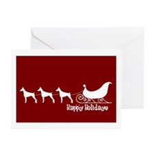 "Doberman ""Sleigh"" Greeting Cards (Pk of 10)"