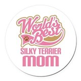 Silky Terrier Mom Round Car Magnet