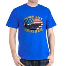 Proud Navy Brother Black T-Shirt