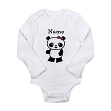 Personalize Panda Girl Long Sleeve Infant Bodysuit