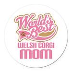 Welsh Corgi Mom Round Car Magnet