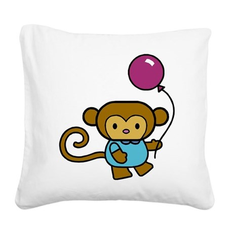 Bobo Monkey Square Canvas Pillow