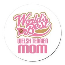 Welsh Terrier Mom Round Car Magnet