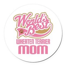 Wheaten Terrier Mom Round Car Magnet