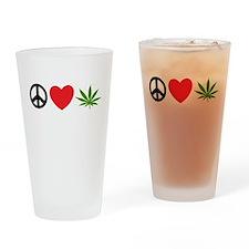 Peace Love Cannabis Drinking Glass