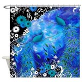 Two Peacocks In Blue Garden Shower Curtain