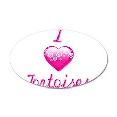 I Love/Heart Tortoises 35x21 Oval Wall Decal