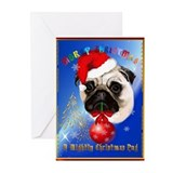 A Merry Christmas Pug Poster Greeting Cards (Pk of