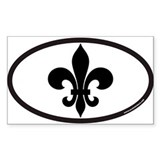 Fleur De Lis Euro Oval Sticker for New Orlean Stic