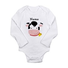 Personalized Cow Long Sleeve Infant Bodysuit