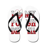 I Heart My Polish Dziadzia Flag Flip Flops