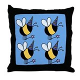 Magic Bee Throw Pillow blue